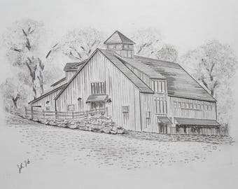 Custom Home Sketch Black and White Architectural   5x7 8x10