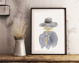 """Printable Art """"Braid and Hat Girl"""" Print 
