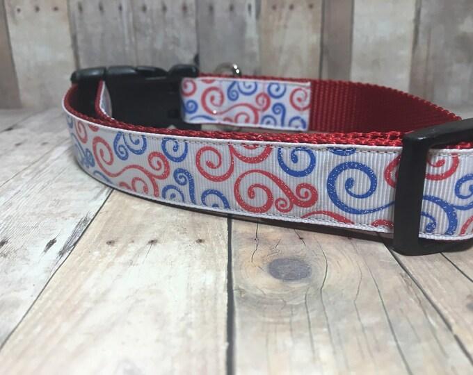 "The Hope   Designer 1"" Width Dog Collar   CupcakePups Collars   Sparkly Swirls   Medium/Large Dog Collar"