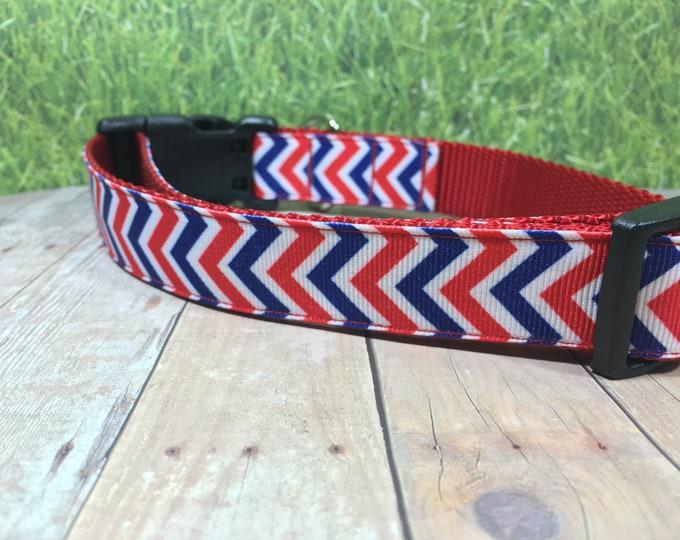 "The  Gendry   Designer 1"" Width Dog Collar   CupcakePups Collars   Fourth of July   American Pride   Red/Blue Chevron   Medium/Large Collar"