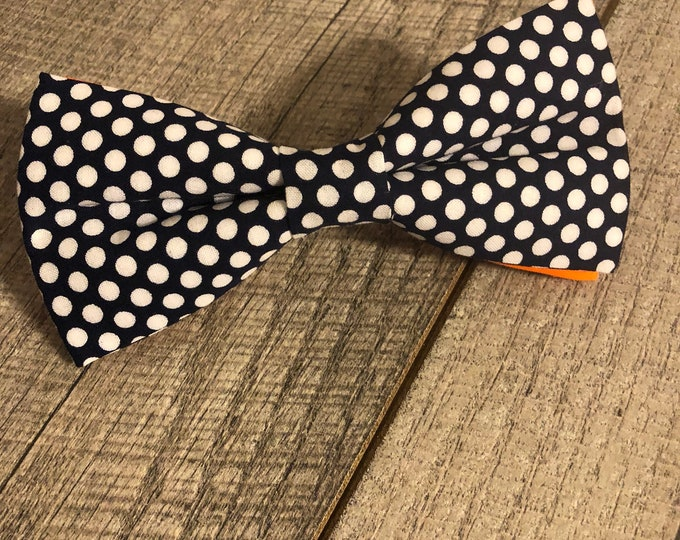 Navy Polka Dots w/ orange Bow-Tie | CupcakePups Collars | Large Dog Bow Tie