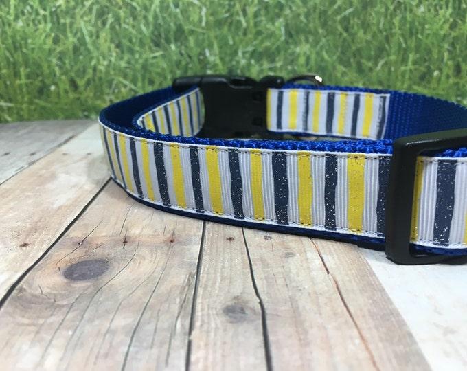 "The Leslie | Designer 1"" Width Dog Collar | CupcakePups Collars | Blue and Yellow Stripes - Medium/Large Dog Collar"