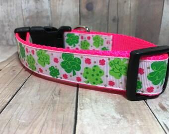 "The Shamrock | Designer 1"" Width Dog Collar | CupcakePups Collars | St Patricks | girly Clovers - Medium/Large Dog Collar"