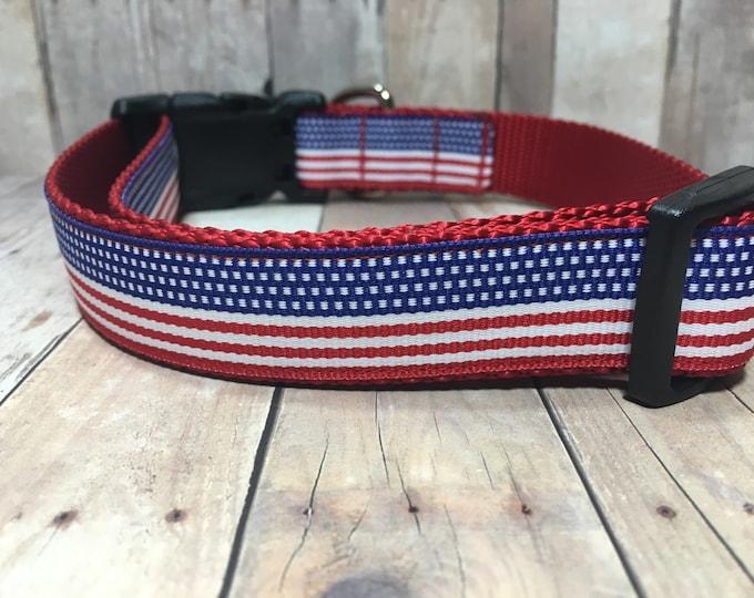 "The Freedom   Designer 1"" Width Dog Collar   CupcakePups Collars   Fourth of July   American Pride - Medium/Large Dog Collar"
