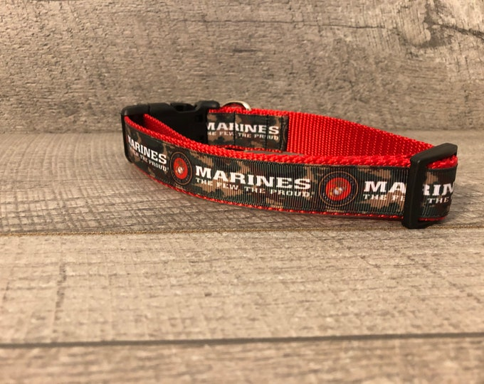 "The Marine   1"" Dog Collar   CupcakePups Dog Collars   The Few The Proud   Military Dogs"