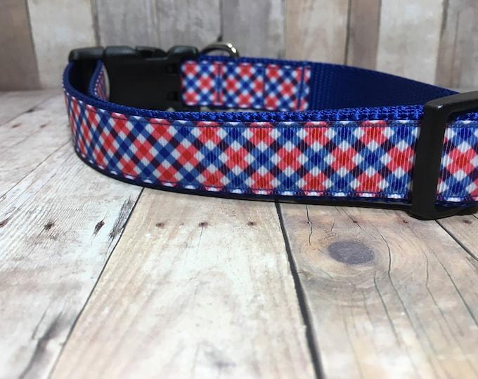 "The Smith   Designer 1"" Width Dog Collar   CupcakePups Collars   Preppy Plaid   Red and Blue - Medium/Large Dog Collar"