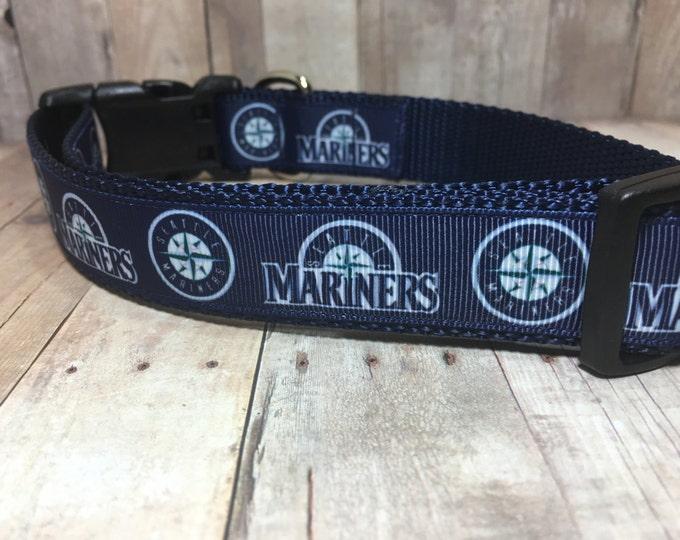 "The Mariners   Designer 1"" Width Dog Collar   CupcakePups Collars   Baseball   Seattle - Medium/Large Dog Collar"