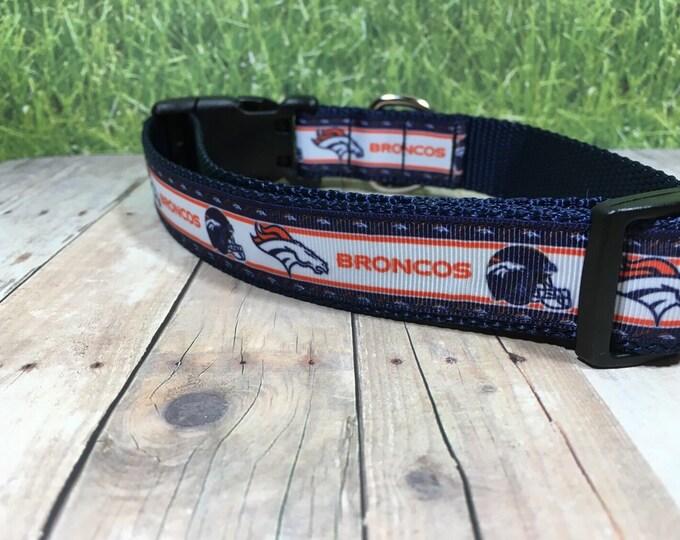 "The Bronco   Designer 1"" Width Dog Collar   CupcakePups Collars   Football   Denver - Medium/Large Dog Collar"