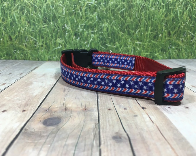 "The Spangle   Designer 3/4"" Width Dog Collar   CupcakePups Collars   Red White Blue - Small/Medium Dog Collar"