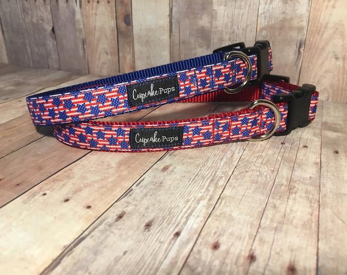 "The Stars & Stripes  Designer 1"" or 3/4"" Width Dog Collar   CupcakePups Collars   Fourth of July   Small, Medium, or Large Dog Collar"