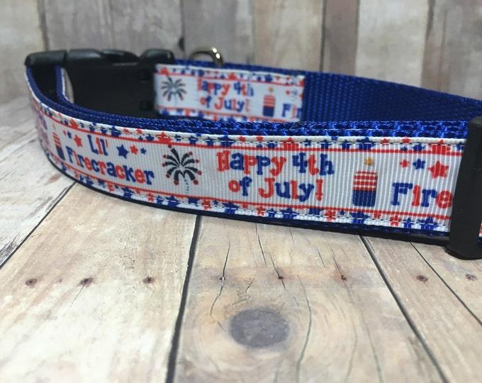 """The Firecracker   Designer 1"""" Width Dog Collar   CupcakePups Collars   Firecracker   Medium/Large Dog Collar"""