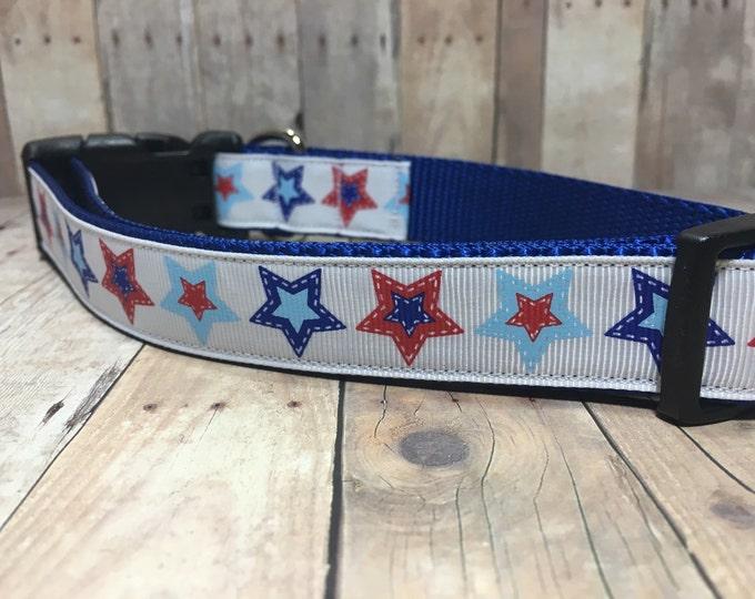 "The Liberty   Designer 1"" Width Dog Collar   CupcakePups Collars   Fourth of July   Stars - Medium/Large Dog Collar"