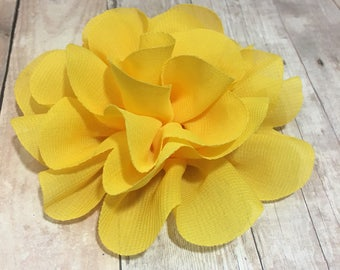 "4"" Yellow Chiffon Flower | Flower for Dog Collar | Medium/Large Dog | CupcakePups"