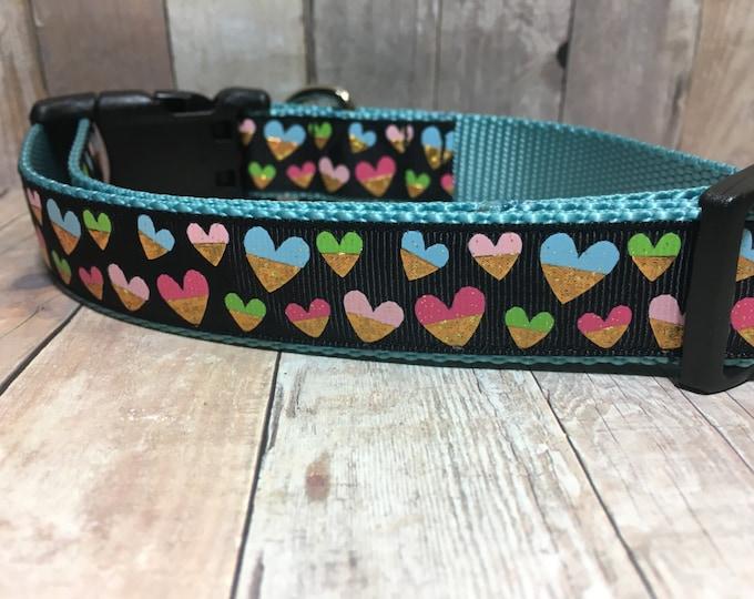 "Gold Foil Hearts | 1"" Valentine's Dog Collar | Medium/Large Dog | CupcakePups | Handmade"