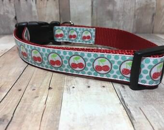 "The Marnie | Designer 1"" Width Dog Collar | CupcakePups Collars | Cherries - Medium/Large Dog Collar"