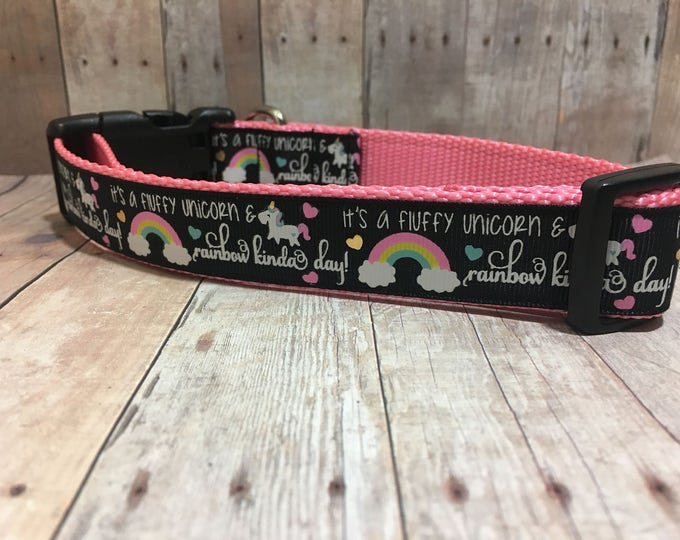 "The Unicorn & Rainbows | Designer 1"" Dog Collar | CupcakePups Dog Collars | LuLaRoe inspired"
