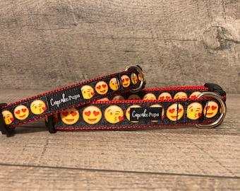 "The Emoji | Designer 3/4"" & 1"" Width Dog Collar | CupcakePups Collars | Medium/Large Dog Collar"