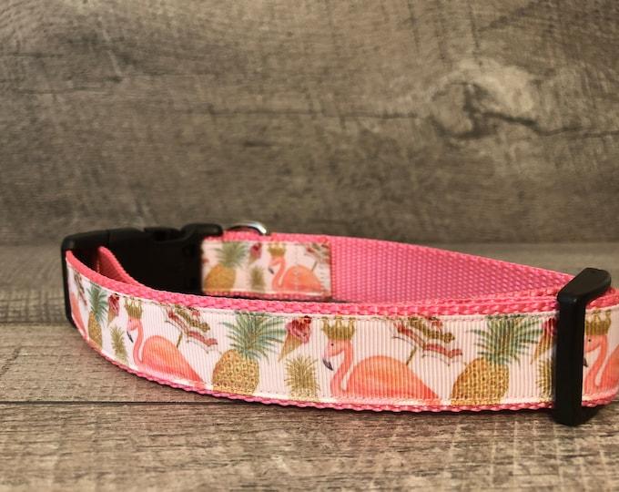 "The Parasol in Paradise | Designer 1"" Width Dog Collar | Medium/Large Collar | CupcakePups Collars | pineapple ice cream flamingo"
