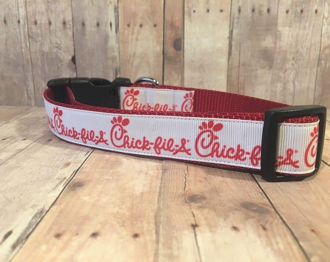 """The Chick-fil-A - CupcakePups Exclusive Custom Logo   Designer 1"""" Width Dog Collar   CupcakePups Collars   Medium/Large Dog Collar"""