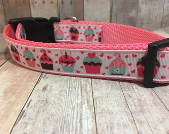 "The Cupcake | Designer 1"" Width Dog Collar | CupcakePups Collars | Happy Birthday | Medium/Large Dog Collar"