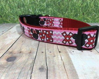 "The Freckles | Designer 1"" Width Dog Collar | CupcakePups Collars | LOVE XOXO - Medium/Large Dog Collar"