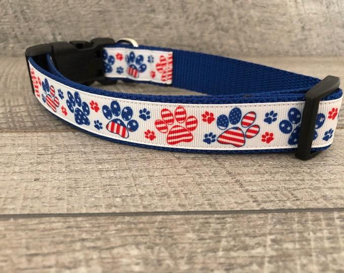 "The Patriot   Designer 1"" Width Dog Collar   CupcakePups Collars   Fourth of July   Paw Prints   Medium/Large Dog Collar"