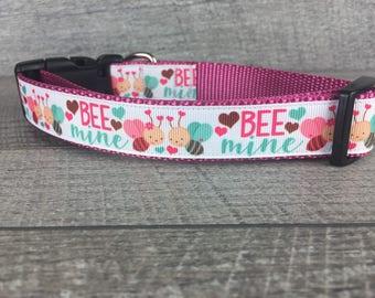 "Bee Mine | Designer 1"" Width Dog Collar | CupcakePups Collars | Medium/ Large Dog Collar"