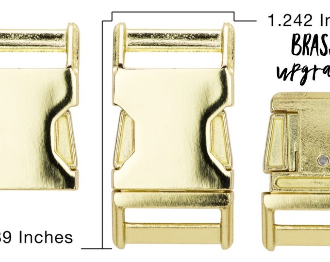 """UPGRADE to Brass Plates Side Release Buckle for 1"""" Collar - CupcakePups Dog Collars"""