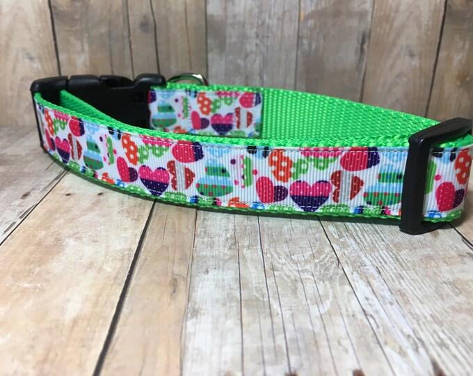 "The Iverly | Designer 1"" Width Dog Collar | CupcakePups Collars | Medium/Large Dog Collar"