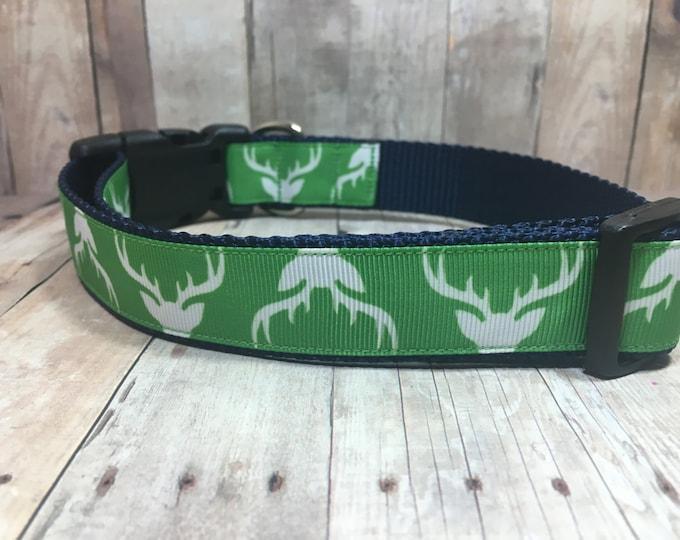 "The Buck | Designer 1"" Width Dog Collar | CupcakePups Collars | Deer Antlers - Medium/Large Dog Collar"