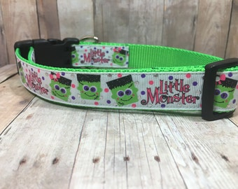 "The Little Monster | Designer 1"" Width Dog Collar | CupcakePups Collars | Medium/Large Dog Collar"