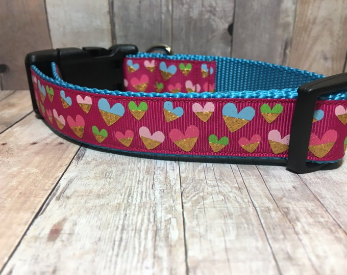 "The Elliana | Designer 1"" Width Dog Collar | CupcakePups Collars | Hearts | Medium/Large Dog Collar"