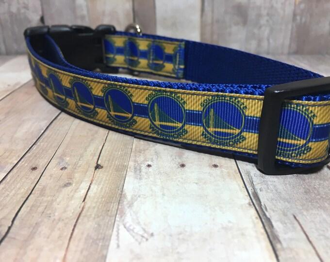 """The Warriors   Designer 1"""" Width Dog Collar   CupcakePups Collars   Golden State   Basketball - Medium/Large Dog Collar"""