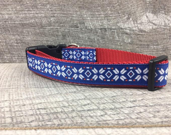 """The James   Designer 1"""" Width Dog Collar   CupcakePups Collars   Medium/Large Dog Collar   Christmas"""