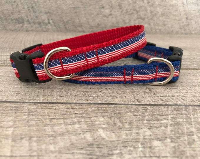 "The Freedom III   Designer 5/8"" Width Dog Collar   CupcakePups Collars   Fourth of July   American Flag   Small Dog Collar"