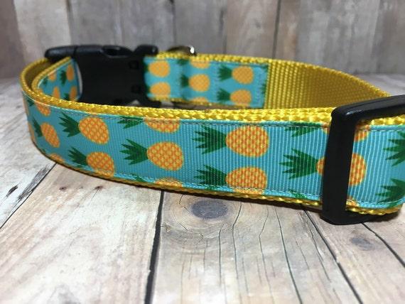 "The Melaney | Designer 1"" Width Dog Collar | CupcakePups Collars | Summer Pineapples - Medium/Large Dog Collar"