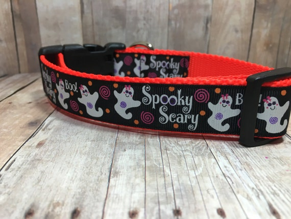 "The Ghost | 1"" Halloween Spooky Scary Ghost Dog Collar 