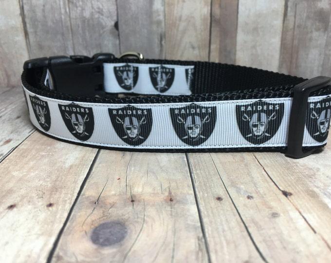"The Raider - 1"" Handmade, Quality, and Adjustable Dog Collar - Oakland Raiders Football"
