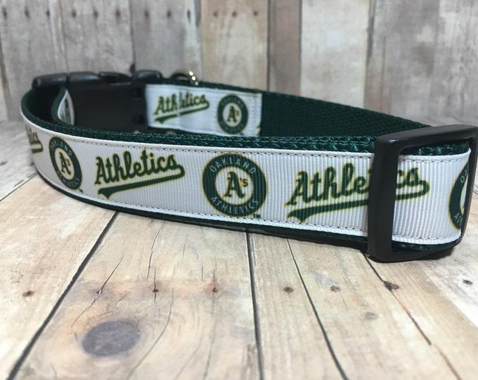 "The Athletics | Designer 1"" Width Dog Collar | CupcakePups Collars | Baseball | Athletics - Medium/Large Dog Collar"