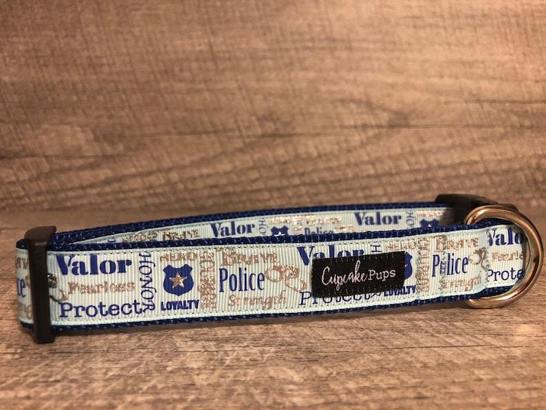 MediumLarge Dog Collar CupcakePups Collars Designer 1 Width Dog Collar The Roulston Police Protect Honor