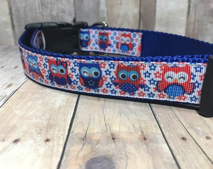 "The Sammy | Designer 1"" Width Dog Collar | CupcakePups Collars | Fourth of July | Owls - Medium/Large Dog Collar"