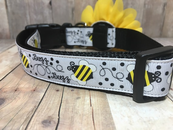 "The Bee - Designer 1"" Width Dog Collar -  CupcakePups Dog Collars - a Bumble Bee Dog Collar (Flower sold separately)"
