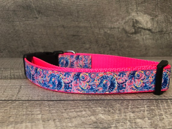 "Brand New | Designer 1"" Width Dog Collar | CupcakePups Dog Collars | Paisley"