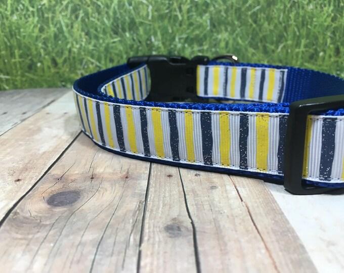 "The Leslie   Designer 1"" Width Dog Collar   CupcakePups Collars   Blue and Yellow Stripes - Medium/Large Dog Collar"