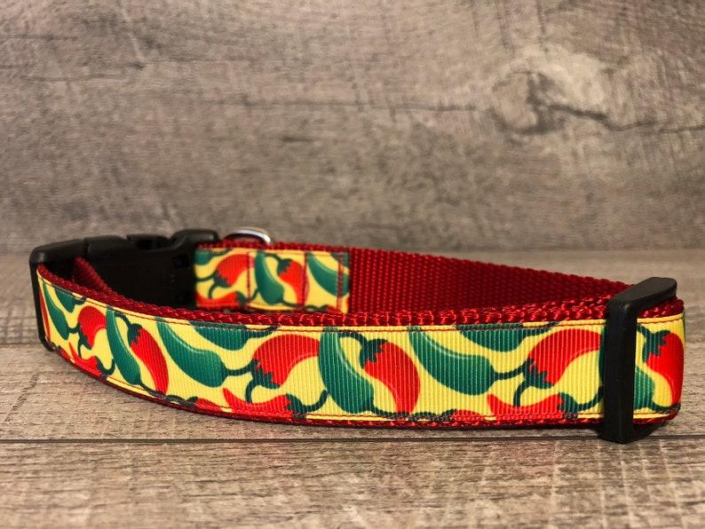 Designer 1 Width Dog Collar The Chili Peppers MediumLarge Dog Collar CupcakePups Collars Gift for Dog Lover