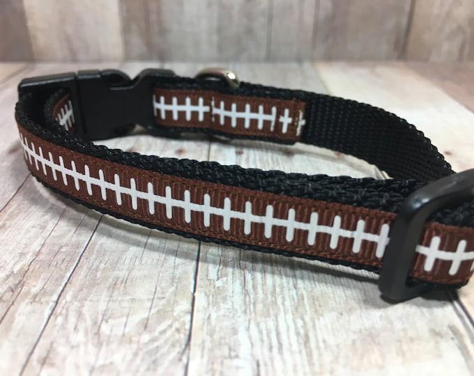 "The Leather III | Designer 1/2"" Width Dog Collar | CupcakePups Collars | Football Leather - Small Dog Collar"