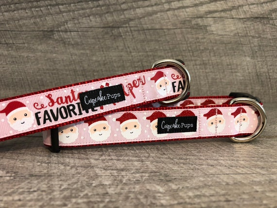 "The Santas Favorite Helper & Santa Faces | Designer 1"" Width Dog Collar | CupcakePups Dog Collars | Christmas | Santa | Pink"