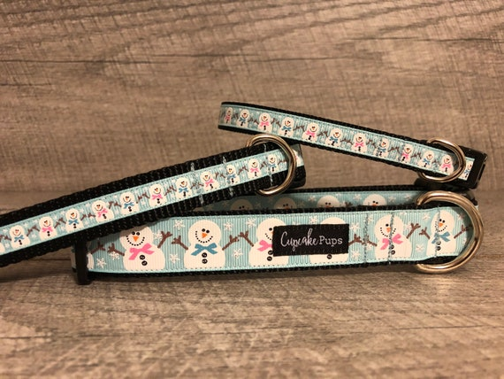 "Frosty and his Girlfriend | Designer 1/2"", 3/4"" and 1"" Width Dog Collar 
