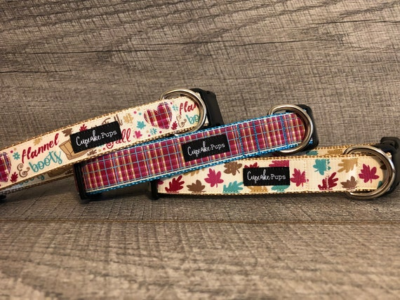 "Flannel & Boots, Fall Plaid, Leaves | Designer 1"" Width Dog Collar 