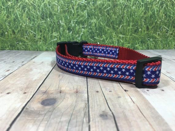 "The Spangle | Designer 3/4"" Width Dog Collar | CupcakePups Collars | Red White Blue - Small/Medium Dog Collar"